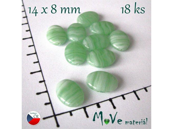 České skleněné žíhané zelené oválky 1,4x0,8cm 18ks