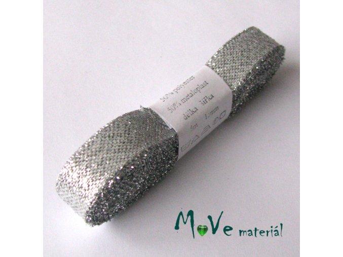 Stuha stříbrná, 15mm, 5m