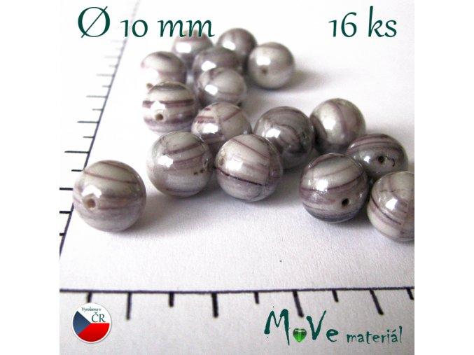 České žihané fialové korálky velké 10mm 16 ks