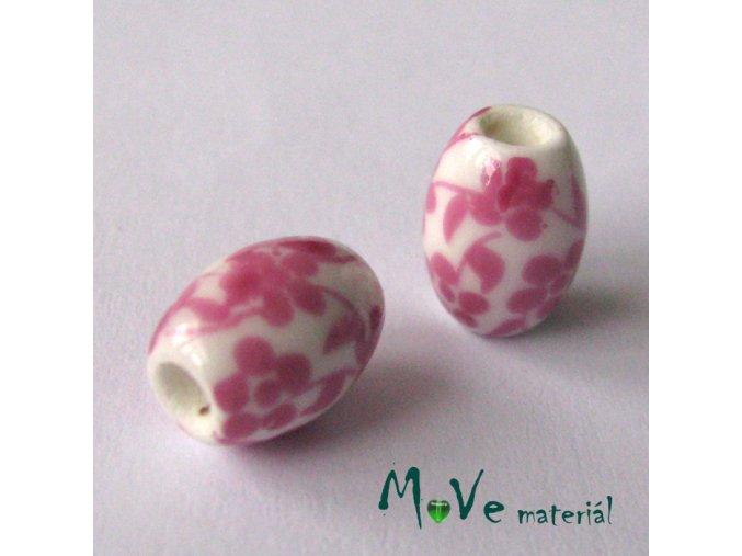 Korálek porcelánový olivka 8x11mm, 2ks, růžová