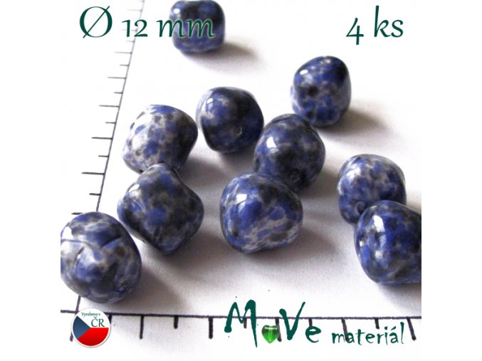 Česká modrá velká mačkanice 12mm 4ks