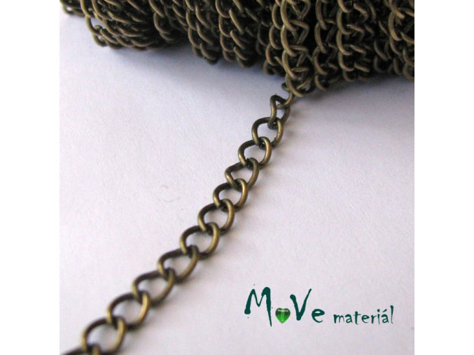 Řetízek kovový šíře 5x3,5mm, délka 1m, mosaz