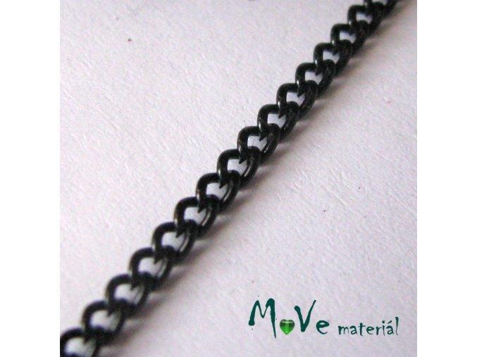 Řetízek kovový šíře 3x2mm, délka 1m, černý