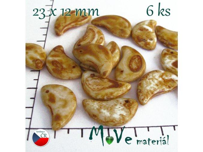 Česká travertin slzička 23x12mm 6 ks