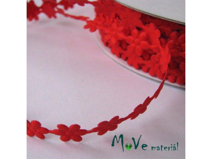 Aplikace květinky červená - šíře 7mm, 1m