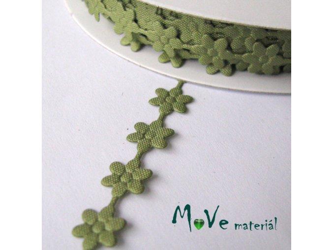Aplikace květinky zelená - šíře 7mm, 1m
