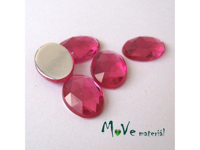 Plastový kabošon 10x14x3,5mm/5ks, růžový