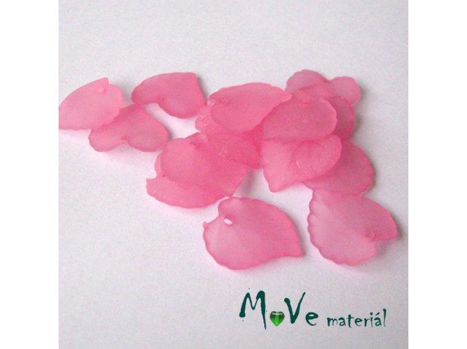 Akrylové transparentní lístečky, 15ks, stř. růžové