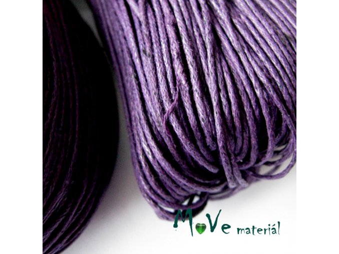 Šňůra voskovaná bavlněná 1mm, 3m, fialová II