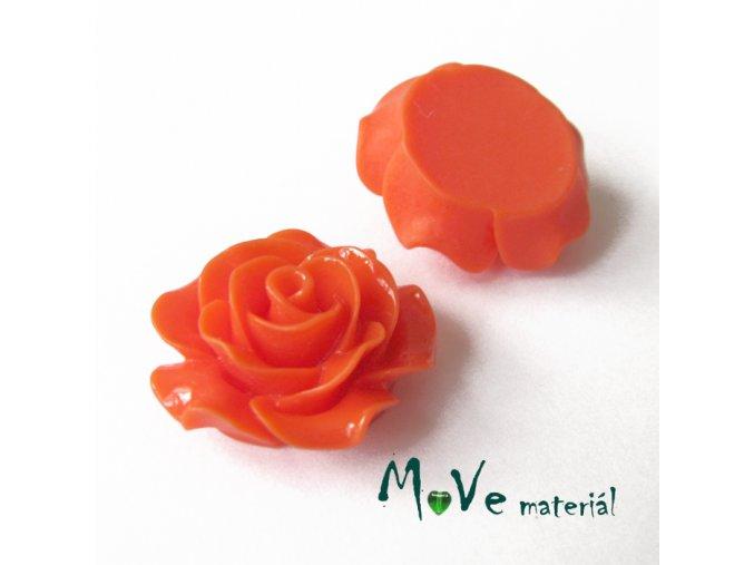 Kabošon růžička lesklá B2 - resin - 2ks, oranžový