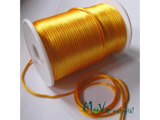 Šňůra 2mm saténová žlutooranžová,1m