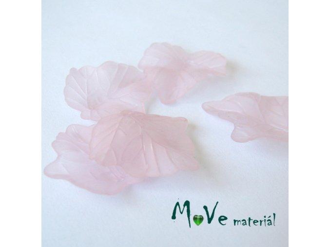 Akrylové matné lístečky, 5ks, sv. růžové