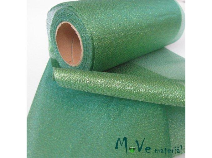 Řezaná stuha s lurexem zelená, 15cm, 1m