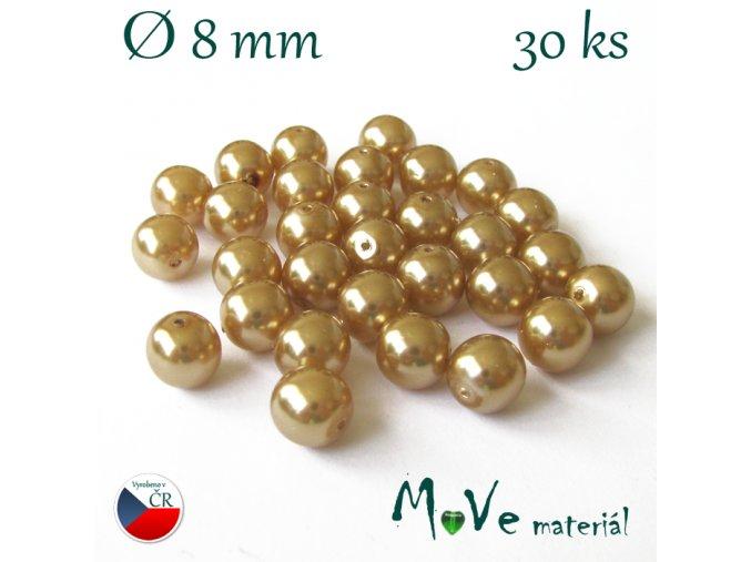 České voskové perle 8mm 30 ks, zlatobéžové