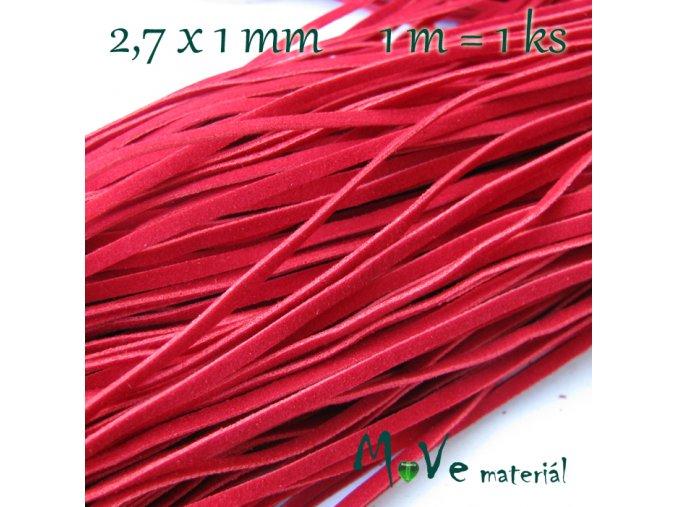 Plochá syntetická kůže, 1m, červená