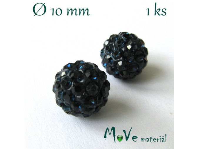 Polymerový korálek - kulička 10mm,1ks, tm. modrý