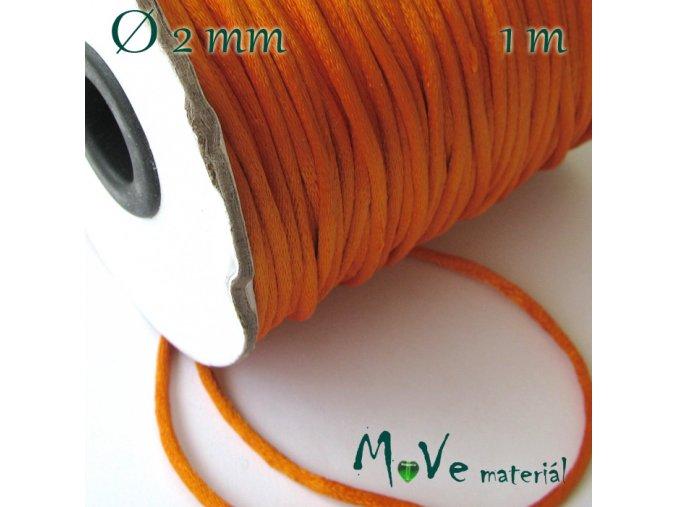 Šňůra saténová 2mm oranžová, 1m