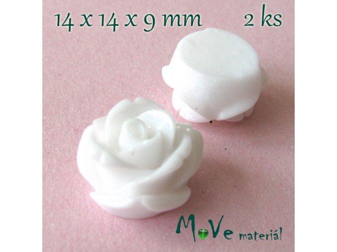 Kabošon květ lesklý - resin - 2ks, bílý