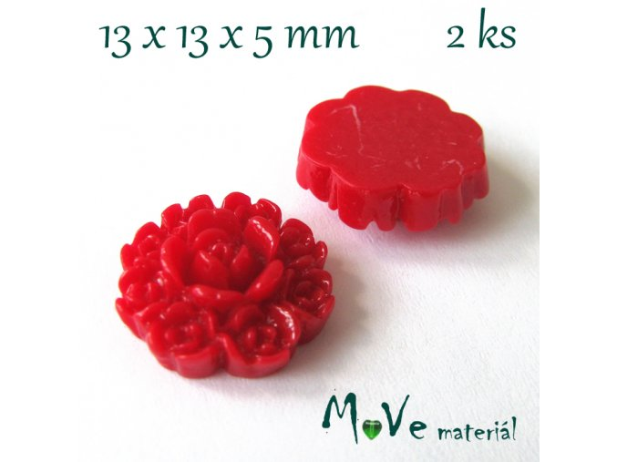 Kabošon květ F7 - resin - 2ks, červený