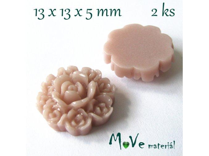 Kabošon květ F7 - resin - 2ks, béžovorůžový
