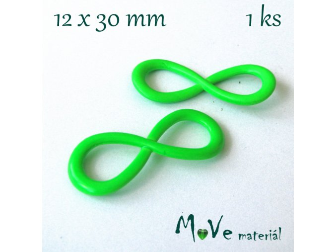 Mezikus kovový 12x30mm ležatá osmička, neo. zelená