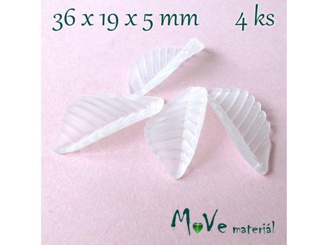 Akrylové matné lístečky, 4ks, bílé