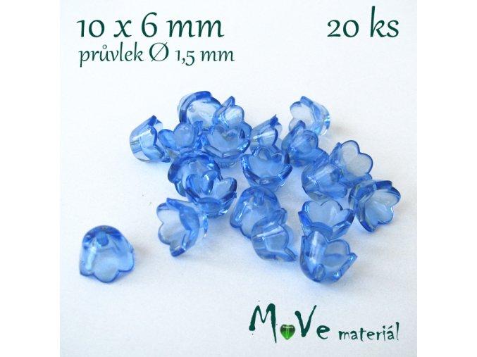 Zvonečky průhledné 10x6mm, 20ks, modré