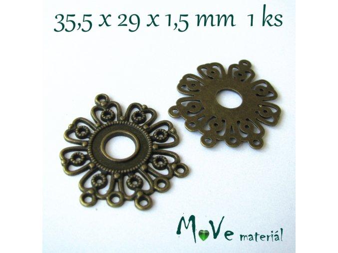 Ramínko květ 35,5x29x1,5mm,1ks, staromosaz