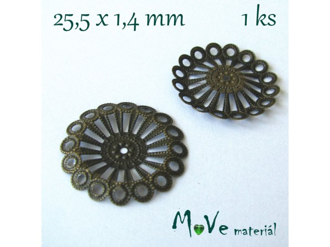 Filigrán květ 25,5mm, 1ks, staromosaz