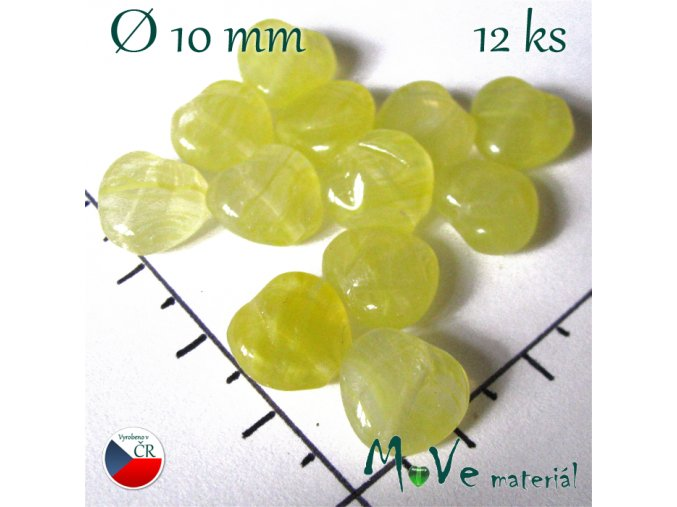 Česká žlutá srdíčka 10mm 12ks