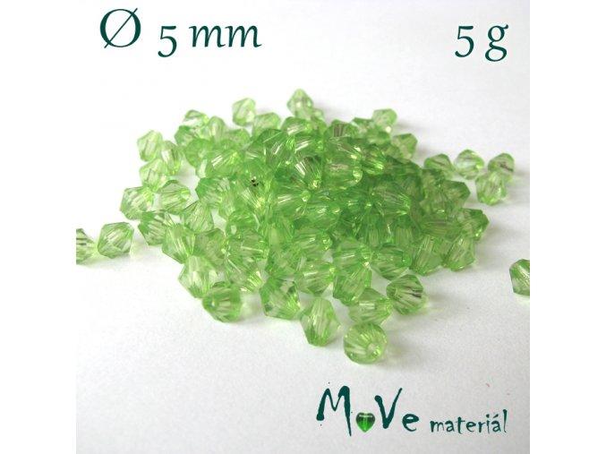 Korálek plast - sluníčko 5mm, 5g, sv. zelené