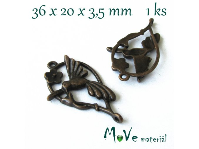 Ramínko-mezikus 36x20x3,5mm,1ks, staroměď