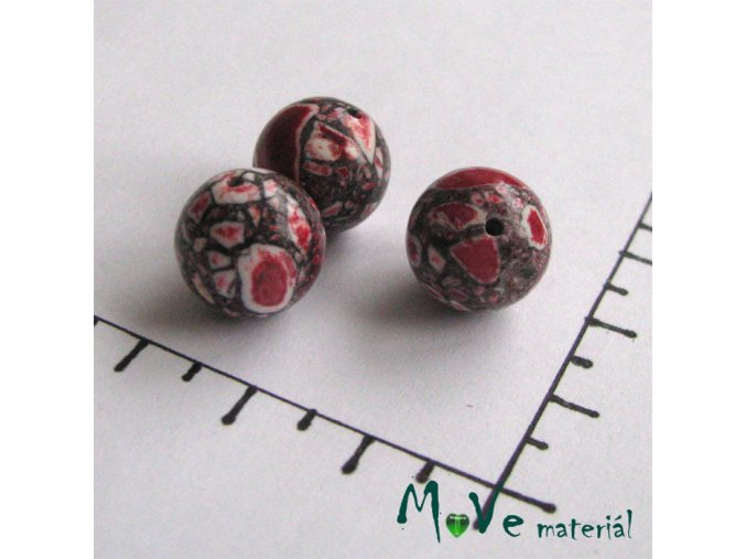 Korálky Marble červená 12 mm 3 ks