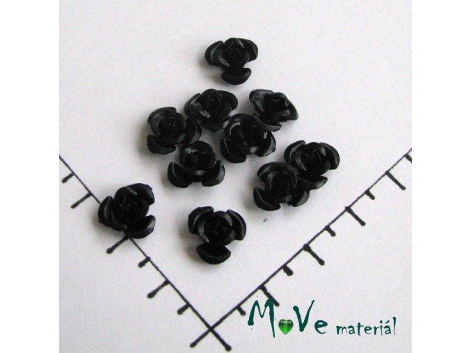 Korálek růžička 10mm, 10ks černá