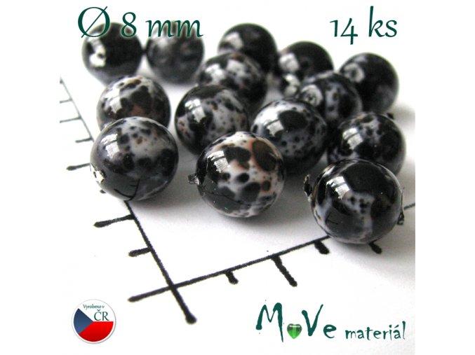 České korálky černé žíhané 8 mm 14 ks