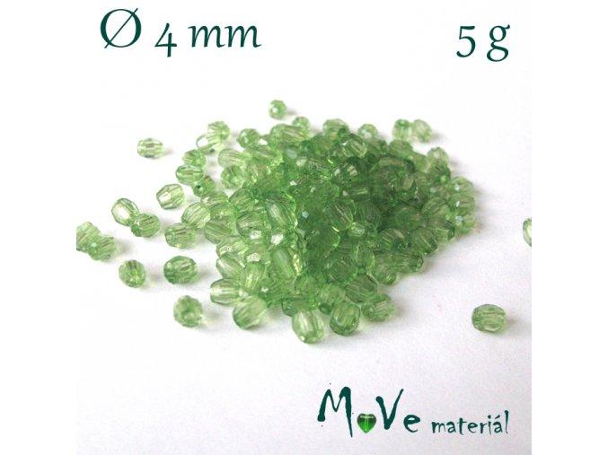 Korálek plast - broušený 4mm, cca 150ks, zelený