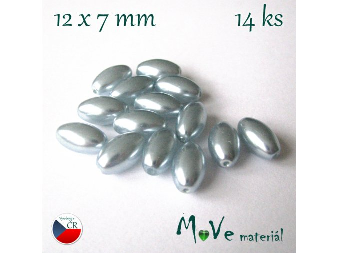 České voskové perle olivka 14ks, modrá