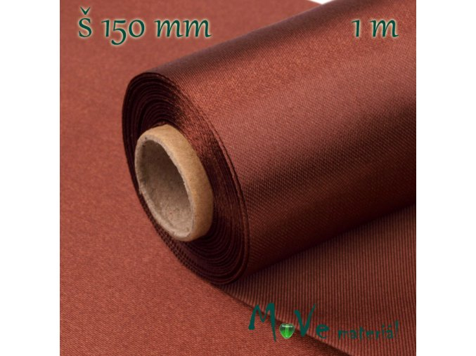 Satén š.15 cm/ 1m, červenohnědý