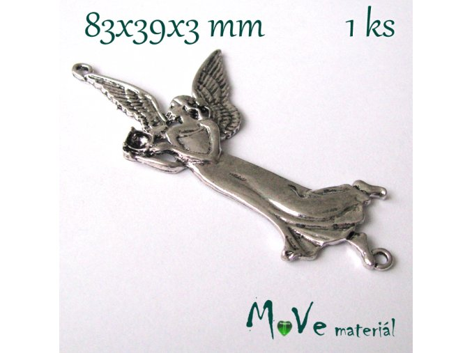 Mezikus ANDĚL 83x39x3 mm, 1ks, starostříbro