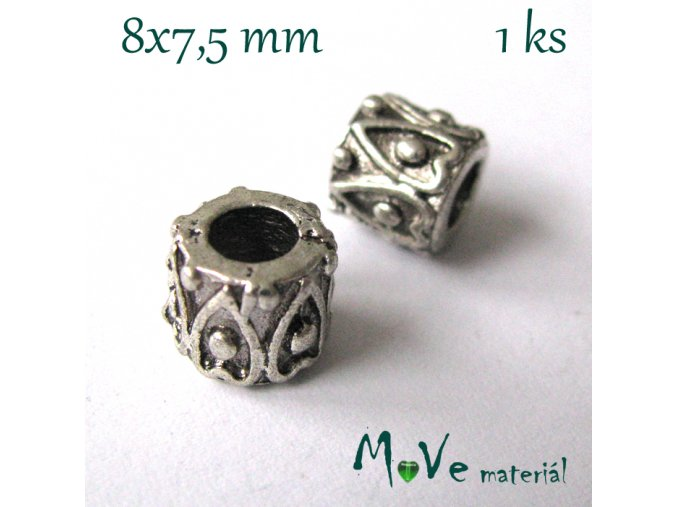 Korálek kovový zdobený, 1kus, starostříbro