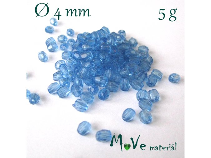 Korálek plast - broušený 4mm, cca 150ks, modrý