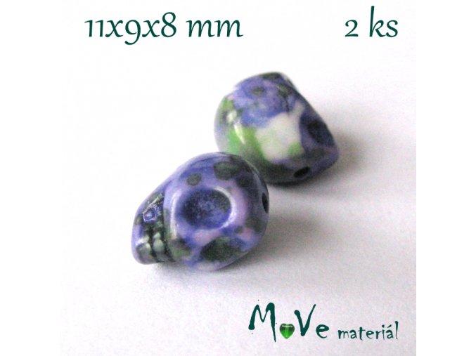 Lebka barvený howlit 11x9x8mm, 2ks, fialové žíhaní 2