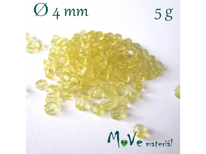 Korálek plast - broušený 4mm, cca 150ks, žlutý
