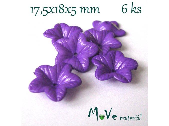 Akrylový květ 18mm - lesklý, 6ks, fialový