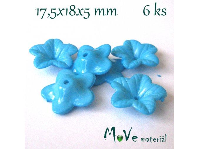 Akrylový květ 18mm - lesklý, 6ks, tyrkysový