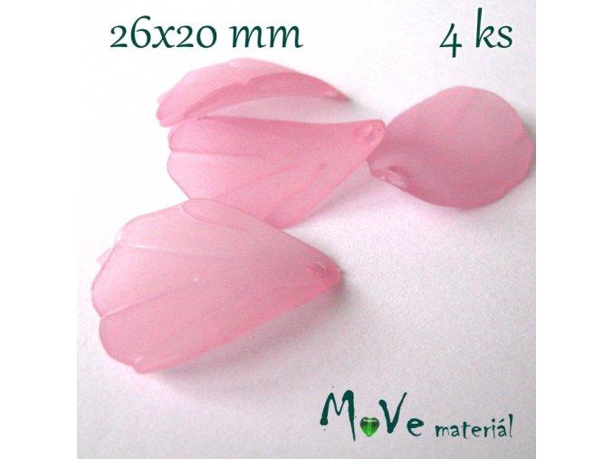 Akrylové matné lístečky, 4ks, růžové