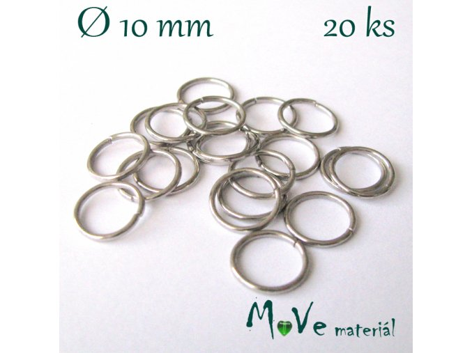 Spojovací kroužek průměr 10mm, 20ks, platina