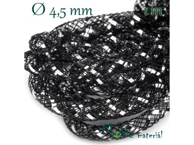 Modistická dutinka s lurexem 4,5mm, 1m, černá
