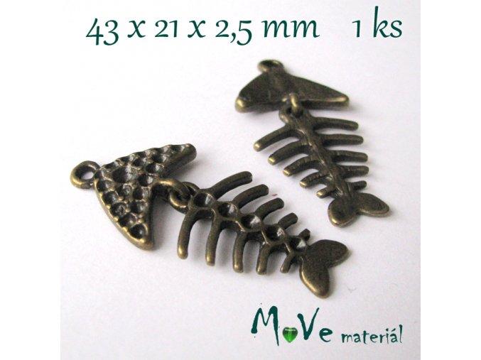 Přívěsek KOSTRA 43x21x2,5mm, 1ks, staromosazná