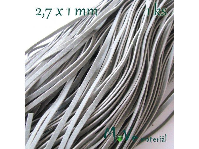 Plochá syntetická kůže, 1m, šedá